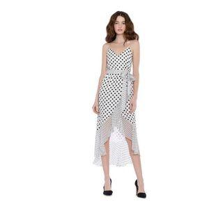Alice + Olivia midi Ruffle Mock Wrap Dress. Size 0